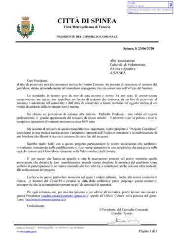1 33 2020 lettera Presidente Consiglio per restauro gonfalone